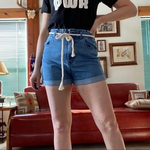 Denim paper bag shorts